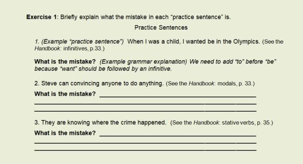 Ex 1 prac sentences shot