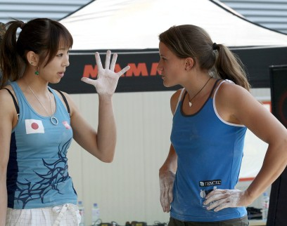 Akiyo Noguchi and Anna Stöhr during the semifinals at the IFSC Boulder Worldcup Vienna 2010